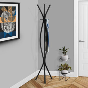 COAT RACK – 72″H / BLACK METAL CONTEMPORARY STYLE