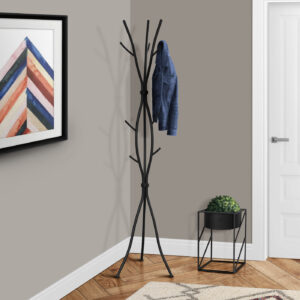 COAT RACK – 74″H / HAMMERED BLACK METAL