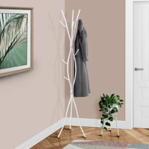 COAT RACK – 74″H / WHITE METAL