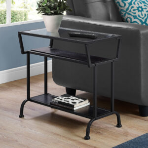 ACCENT TABLE – 22″H / ESPRESSO / BLACK / TEMPERED GLASS