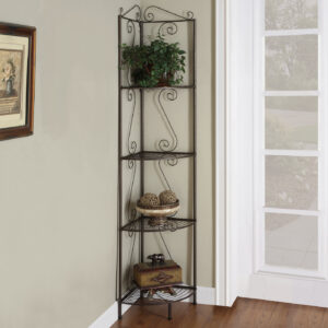 BOOKCASE – 70″H / COPPER METAL CORNER ETAGERE