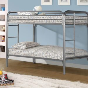 BUNK BED – TWIN / TWIN SIZE / SILVER METAL