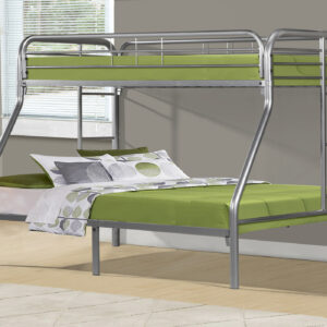 BUNK BED – TWIN / FULL SIZE / SILVER METAL