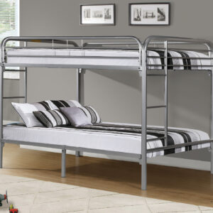 BUNK BED – FULL / FULL SIZE / SILVER METAL