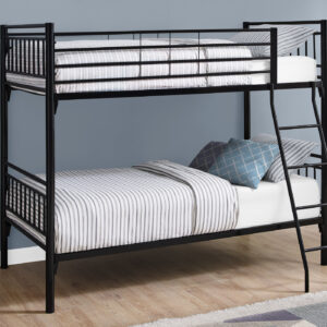 BUNK BED – TWIN / TWIN SIZE / DETACHABLE BLACK METAL