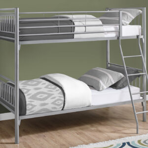 BUNK BED – TWIN / TWIN SIZE / DETACHABLE SILVER METAL