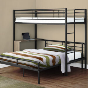 BUNK BED – TWIN / FULL SIZE – TAUPE DESK / BLACK METAL