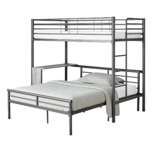 BUNK BED – TWIN / FULL SIZE – GREY DESK / GREY METAL
