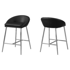 BARSTOOL – 2PCS / BLACK / CHROME BASE / COUNTER HEIGHT