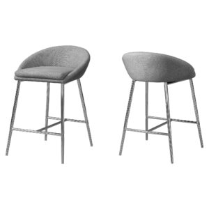 BARSTOOL – 2PCS / GREY FABRIC / CHROME / COUNTER HEIGHT