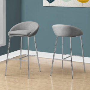 BARSTOOL – 2PCS / GREY FABRIC / CHROME BASE / BAR HEIGHT