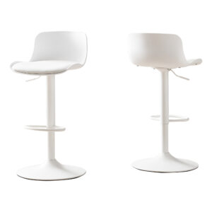 BARSTOOL – 2PCS / WHITE / WHITE METAL HYDRAULIC LIFT
