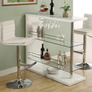 BARSTOOL – 2PCS / WHITE / CHROME METAL HYDRAULIC LIFT