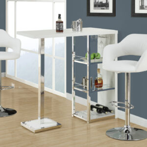 BARSTOOL – WHITE / CHROME METAL HYDRAULIC LIFT