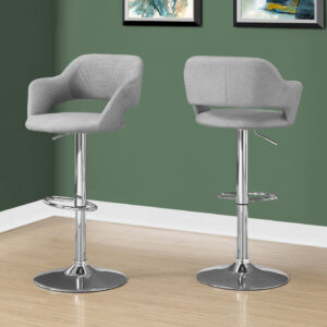BARSTOOL – GREY FABRIC / CHROME METAL HYDRAULIC LIFT