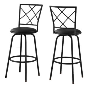 BARSTOOL – 2PCS / SWIVEL / BLACK /BLACK LEATHER-LOOK SEAT
