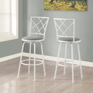 BARSTOOL – 2PCS / SWIVEL / WHITE / GREY FABRIC SEAT