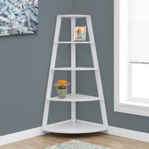 BOOKCASE – 60″H / WHITE CORNER ACCENT ETAGERE