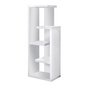 BOOKCASE – 48″H / WHITE ACCENT DISPLAY UNIT