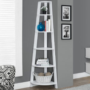 BOOKCASE – 72″H / WHITE CORNER ACCENT ETAGERE