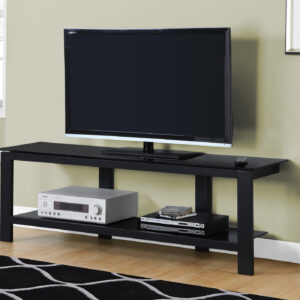 TV STAND – 60″L / BLACK METAL WITH BLACK TEMPERED GLASS