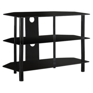 TV STAND – 36″L / BLACK METAL WITH TEMPERED BLACK GLASS