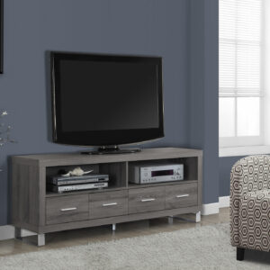 TV STAND – 60″L / DARK TAUPE WITH 4 DRAWERS