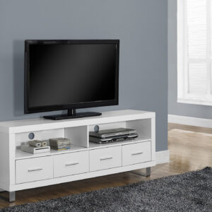 TV STAND – 60″L / WHITE WITH 4 DRAWERS