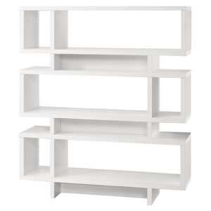 BOOKCASE – 55″H / WHITE MODERN STYLE