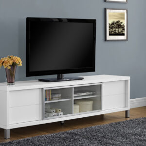 TV STAND – 70″L / WHITE EURO STYLE