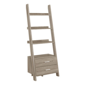 BOOKCASE – 69″H / DARK TAUPE LADDER W/ 2 STORAGE DRAWERS