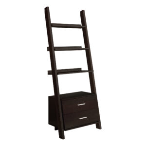 BOOKCASE – 69″H / ESPRESSO LADDER W/ 2 STORAGE DRAWERS