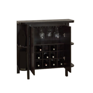 HOME BAR – 36″H / ESPRESSO WITH BOTTLE / GLASS STORAGE