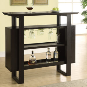 HOME BAR – 48″L / ESPRESSO WITH BOTTLE / GLASS STORAGE