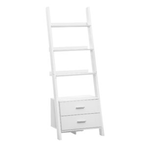 BOOKCASE – 69″H / WHITE LADDER WITH 2 STORAGE DRAWERS