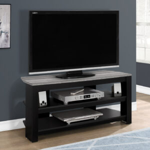 TV STAND – 42″L / BLACK / GREY TOP CORNER