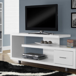 TV STAND – 60″L / WHITE WITH 1 DRAWER