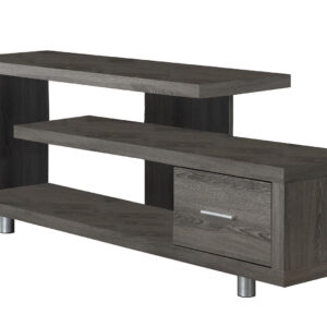 TV STAND – 60″L / DARK TAUPE WITH 1 DRAWER