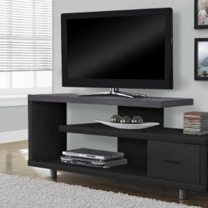 TV STAND – 60″L / BLACK / GREY TOP WITH 1 DRAWER