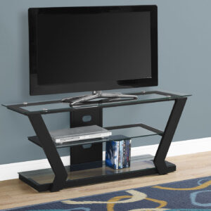 TV STAND – 48″L / BLACK METAL WITH TEMPERED GLASS