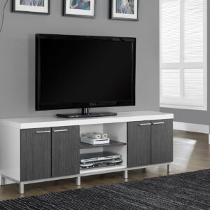 TV STAND – 60″L / WHITE / GREY