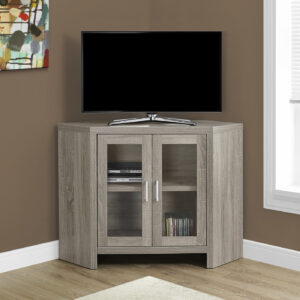 TV STAND – 42″L / DARK TAUPE CORNER WITH GLASS DOORS