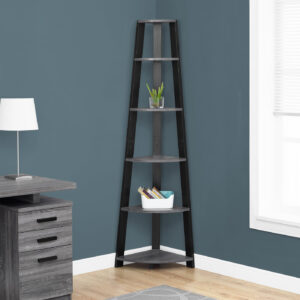 BOOKCASE – 72″H / GREY-BLACK CORNER ACCENT ETAGERE