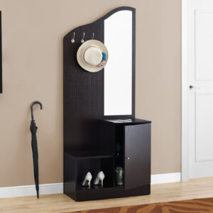 HALL TREE – 75″H / ESPRESSO STORAGE UNIT / MIRROR