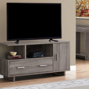 TV STAND – 48″L / DARK TAUPE WITH STORAGE
