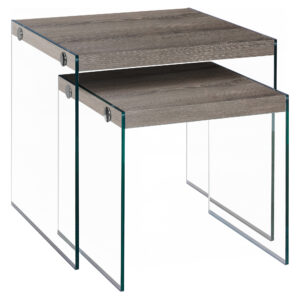 NESTING TABLE – 2PCS SET / DARK TAUPE / TEMPERED GLASS
