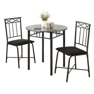 DINING SET – 3PCS SET / GREY MARBLE / CHARCOAL METAL