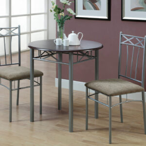 DINING SET – 3PCS SET / ESPRESSO / SILVER METAL