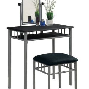 VANITY SET – 2PCS SET / BLACK / SILVER METAL