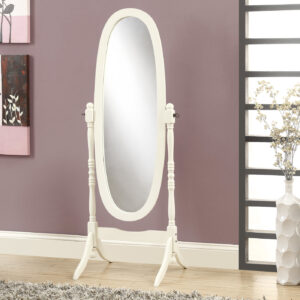 MIRROR – 59″H / ANTIQUE WHITE OVAL WOOD FRAME
